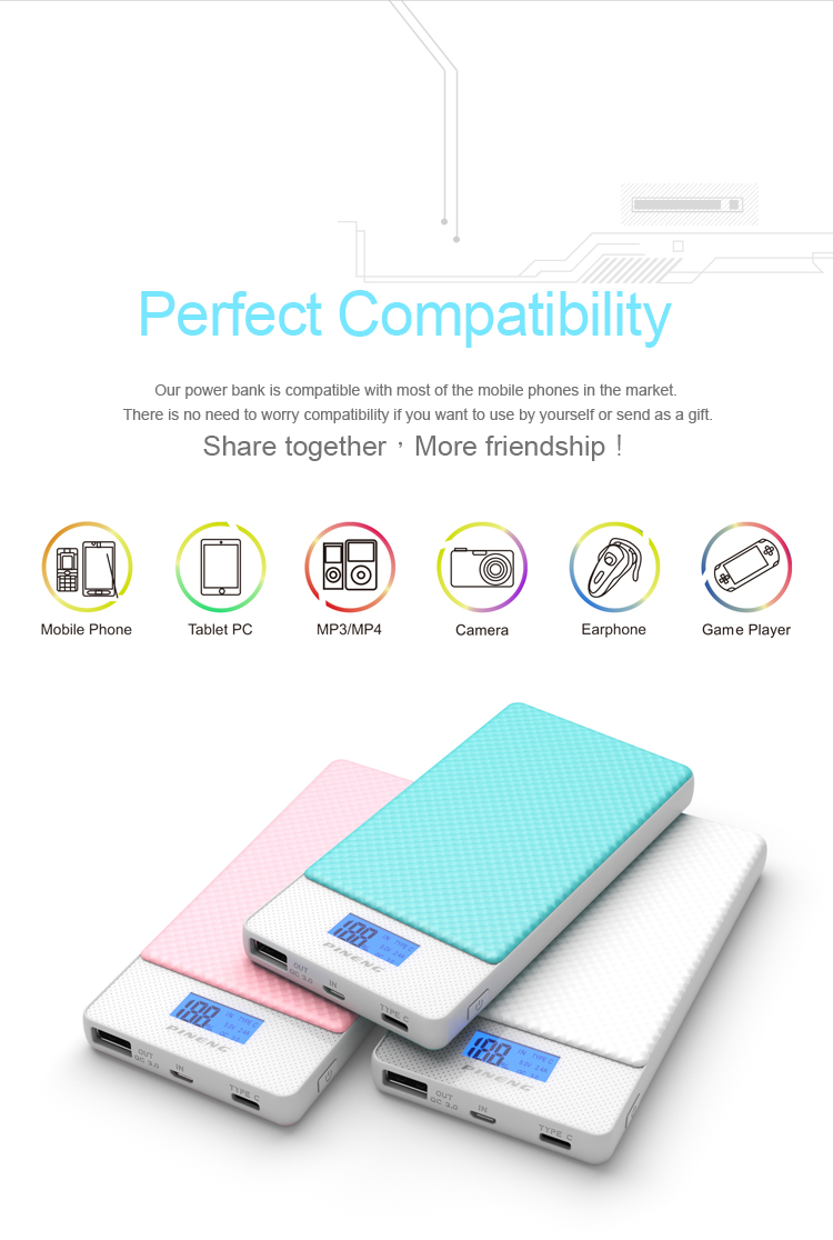 PINENG 10000mah Two-way Fast Charge Power Bank PN 993 QC3.0 Portable Battery Li-Polymer Type-c port For iphone6s Mi Huawei Meizu 24