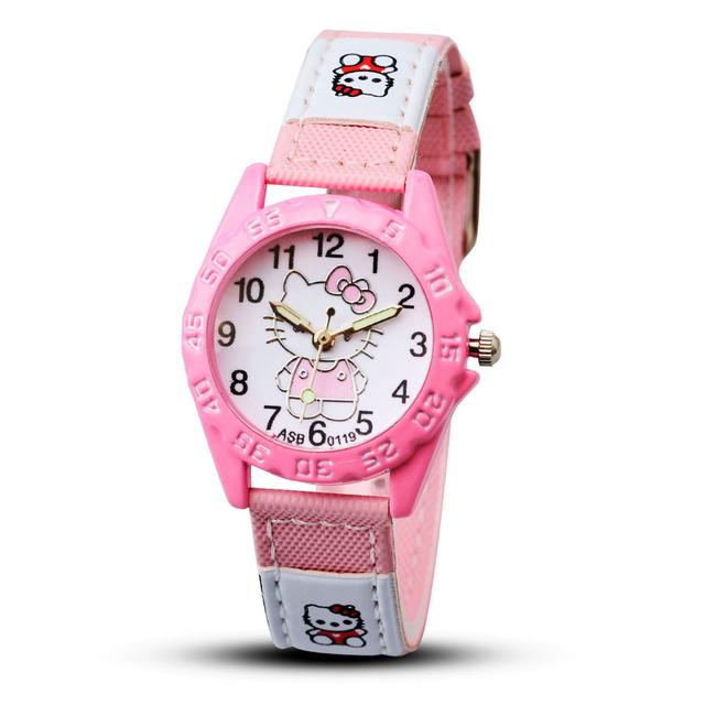 Child hello kitty watch 3 colors leather strap cartoon watch kid relojes new design fashion quartz wristwatch female feminino