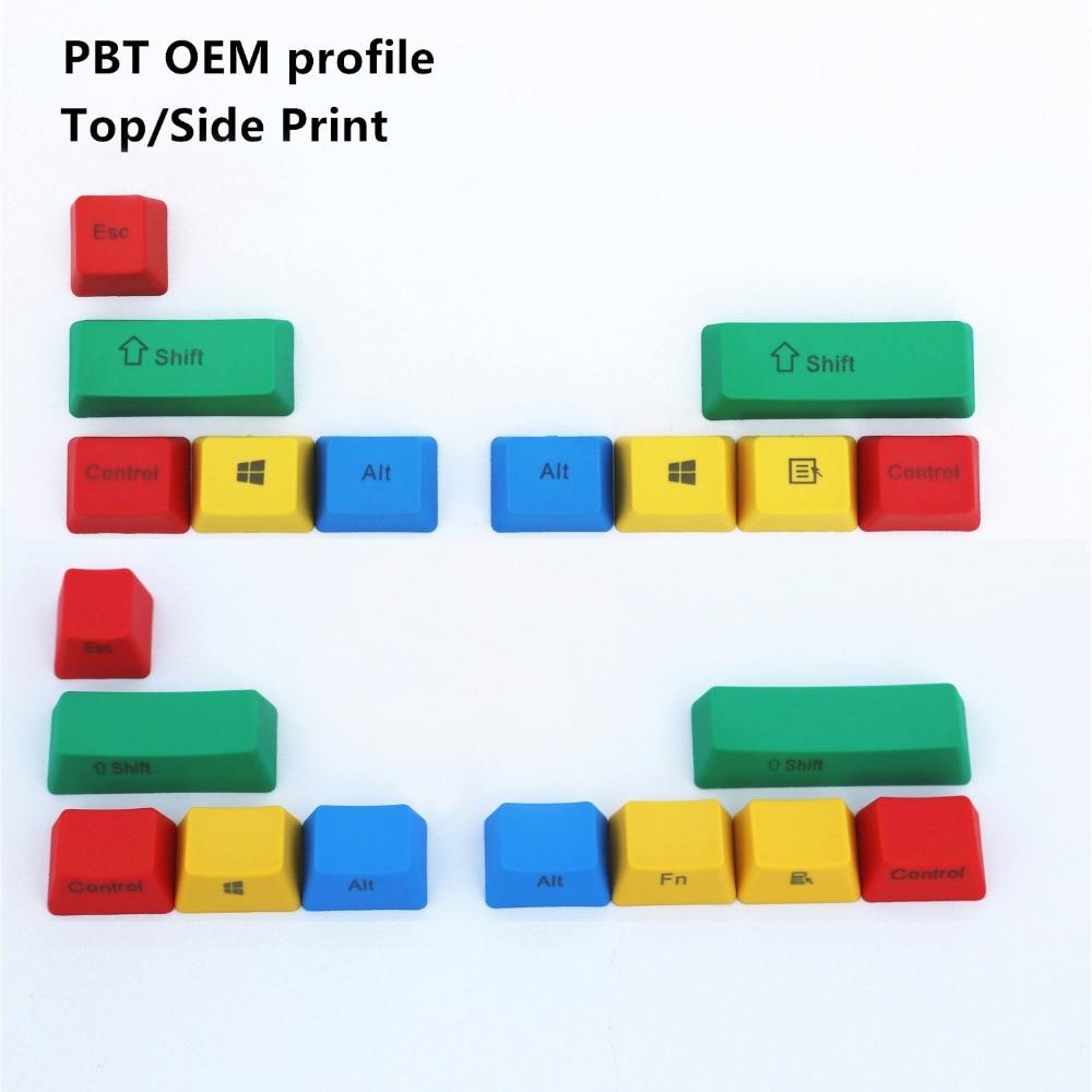 PBT RGBY 10 Keys OEM profile Top/Side Print Keycaps For Cherry MX switch Mechanical Keyboard