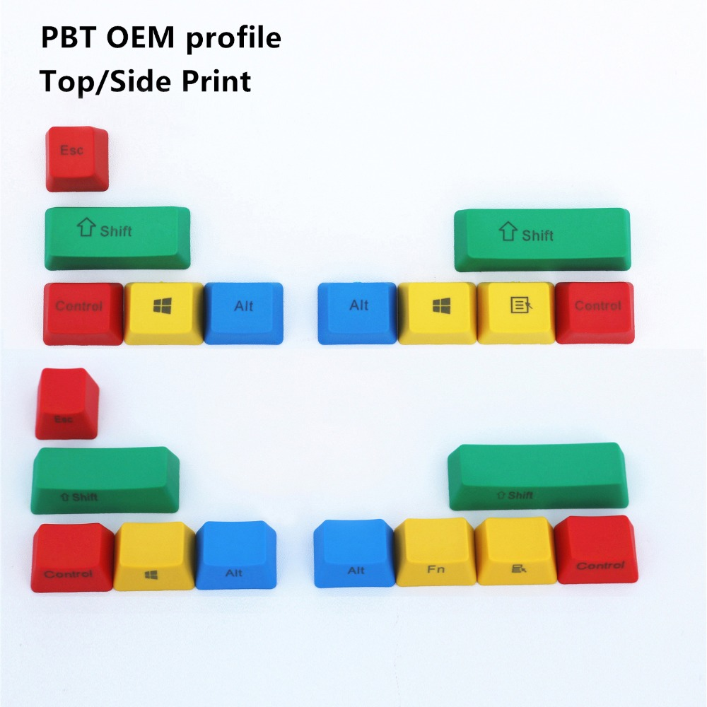 PBT RGBY 10 Keys OEM profile Top/Side Print Keycaps For Cherry MX switch Mechanical Keyboard