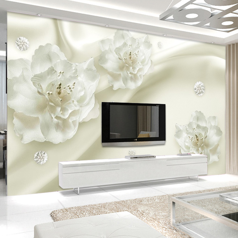 3d Papel Wall Murals Relief White Flower Murals 3d Wall Photo Mural Wallpaper for Living Room TV Background 3d Murals Home Decor wdbh custom mural 3d photo wallpaper gym sexy black and white photo tv background wall 3d wall murals wallpaper for living room