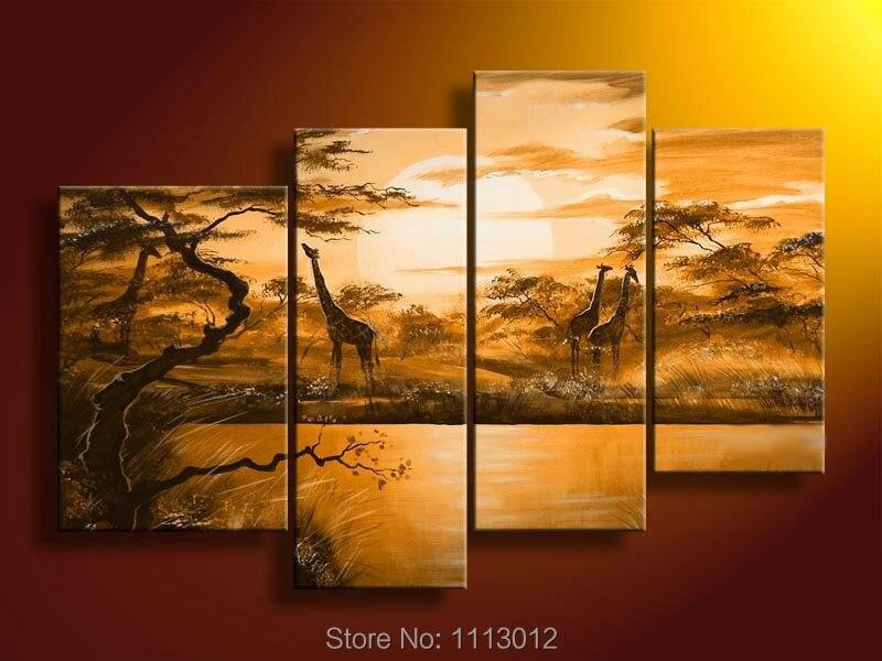 New Modern Africa Giraffa Alba Albero Olio Su Tela Astratta 4 Pannello Art Set Home Decor Picture Parete Per Soggiorno