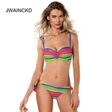 JWAINCKD Bandage Bikini 2019 Push Up Swimwear Swimsuit Women Bathing Suit Halter Tops Underwire Bikinis Set Maillot De Bain ethnic style halter printed push up underwire bikini set for women