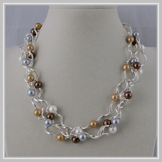 Perles uniques bijouterie, 4 rangées argent Tube 8mm mélange couleur coquille collier de perles, fermoir aimant, charmant cadeau de mariage fille