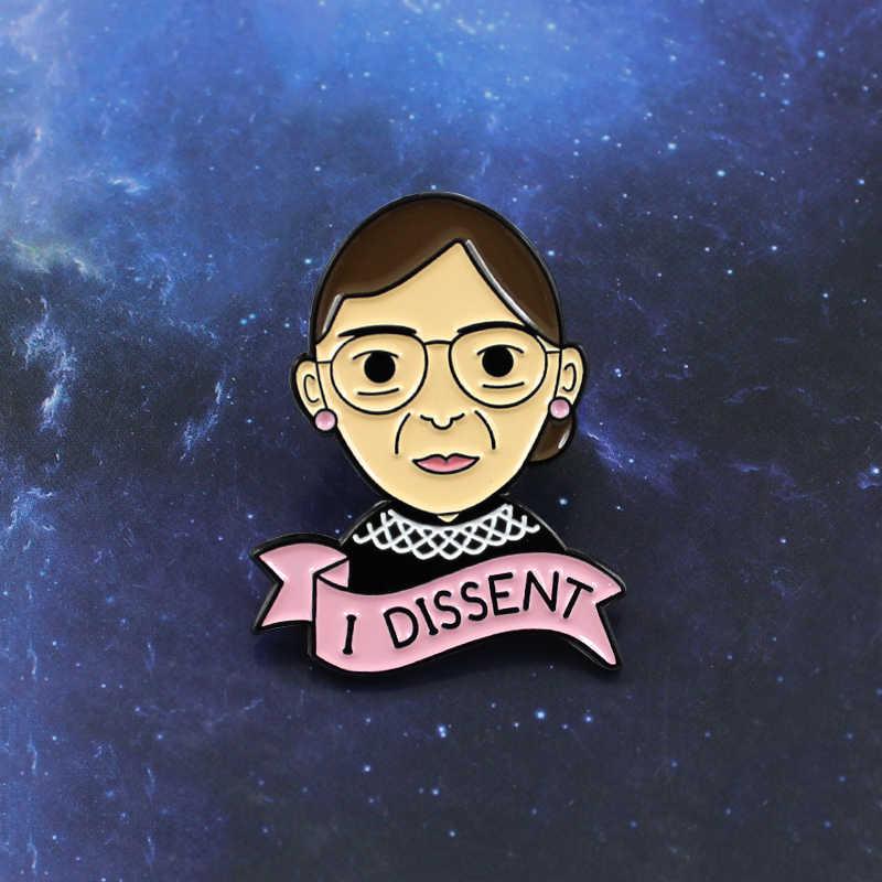 Pita Merah Muda Aku Tidak Setuju Slogan Wanita Memakai Kacamata Feminisme Bros Wanita Mengejar Keadilan Lencana Mendorong Wanita Perhiasan