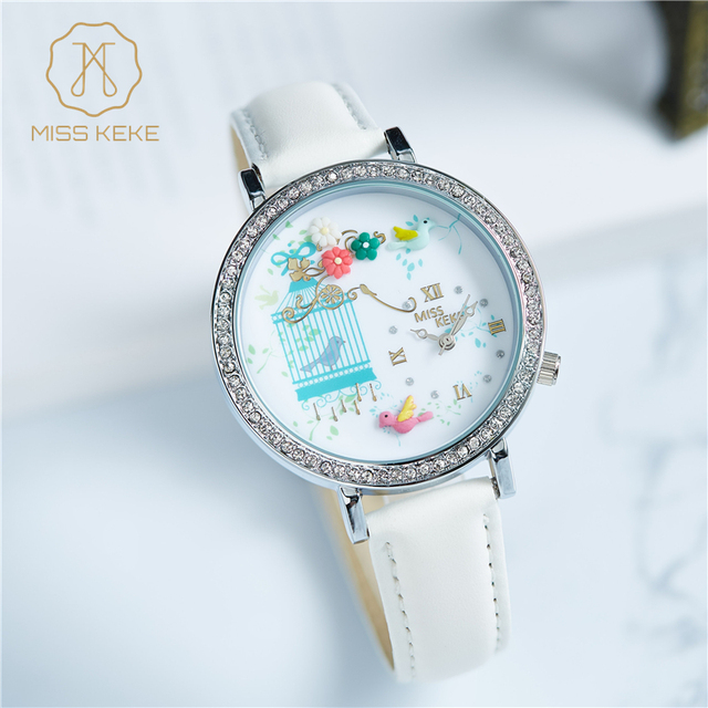 MISS KEKE Luxury Rhinestone Glitter leather Flower Watches Women Leather kids ch