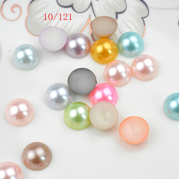FLTMRH 30pcs 10mm Mix Colors Half Round beads imi tation ABS Flat back plastic pearls jewelry Accessory for DIY Nail Art ba image