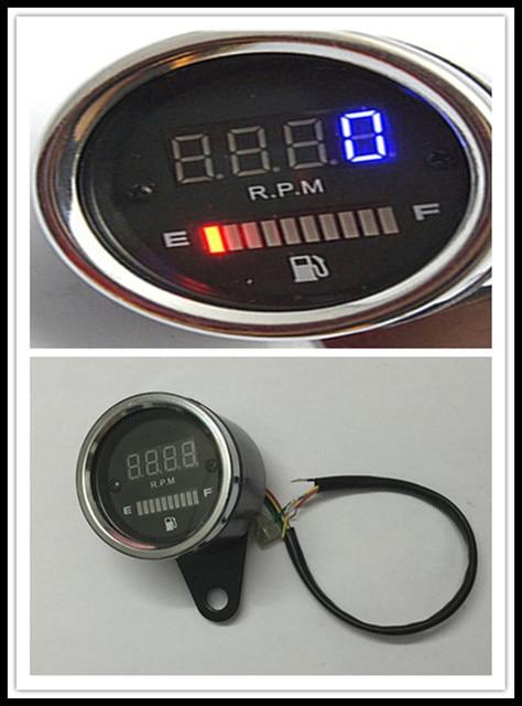 Новый Мотоцикл метр 12 В Универсальный тип преобразования Цифровой тахометр СВЕТОДИОДНЫЙ электронный датчик Масла Черный металлический корпус