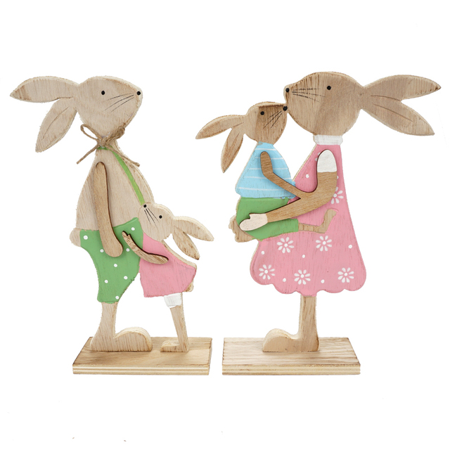 Easter Decoration 1 Pair Of Easter Rabbits Dad And Mom Standing
