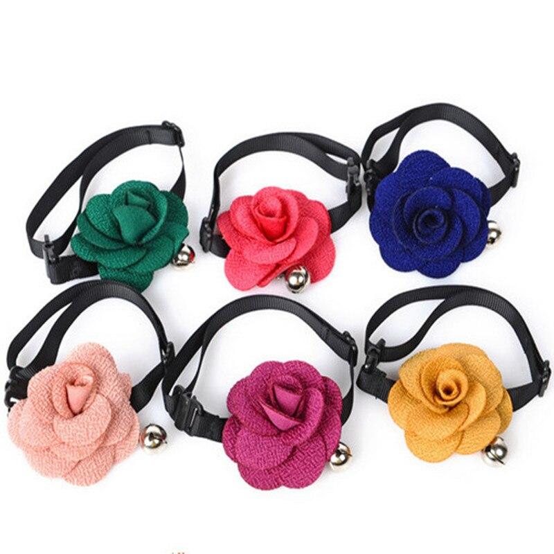AINNY 1 Pcs Rose Size 6*6 CM Bow Tie Width 1 CM for Dog Cat Pet Accessories Neck Circumference 18-28 CM 6 Colors