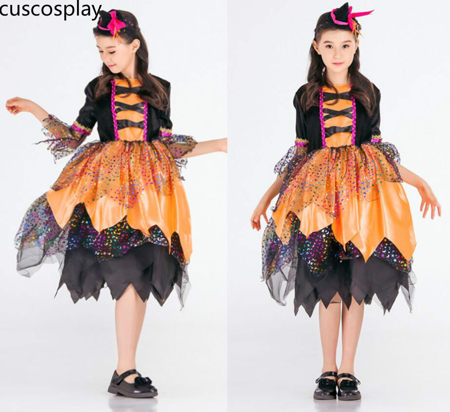 New Arrival Classic Fairy Tales Witch Cosplay Costume Childrens Performance Princess Dresses Witch Magic Dancers Suit Outfit