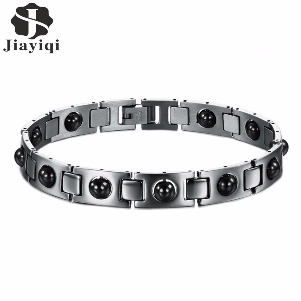 Jiayiqi 2017 Black Magnetic Beads Titanium Stainless Steel Men Bracelets Chain Link Punk Rock For Men Jewelry Christmas Gift