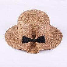 2018 verano con arco negro paja de ala ancha sombrero mujeres sol protector  solar elegante playa señora Cap plegable casual más . fc3cf182bd3
