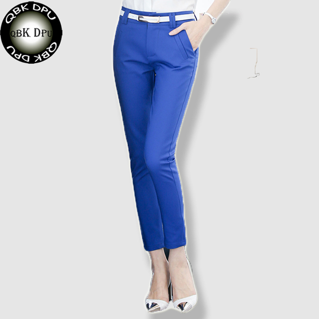f088fc6bccc QBK DPU brands Business attire Ankle-Length casual pencil pants and OL  office leggings women add sashes white pants