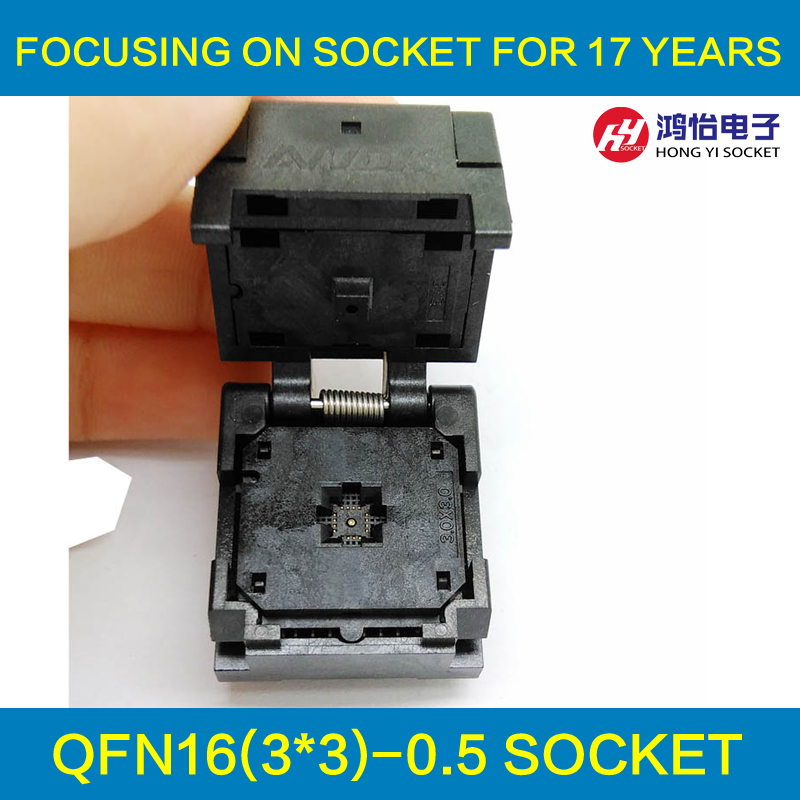 QFN16 MLF16 Burn in Socket IC Test Socket IC550-0164-005-G Pitch 0.5mm Chip Size 3*3 Flash Adapter Clamshell Programming Socket qfn16 to dip16 mlf16 mlp16 plastronics qfn ic programming adapter test burn in socket 3 3 mm 0 5 pitch free shipping