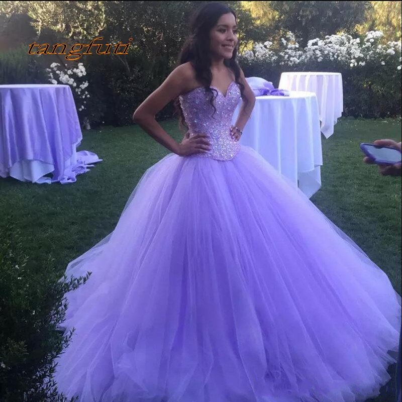 Luxury Quinceanera Dresses Party Long Sweet 16 Princess Tulle Crystal Beaded Ball Gown Prom Dresses Prom Party Dress For Girls