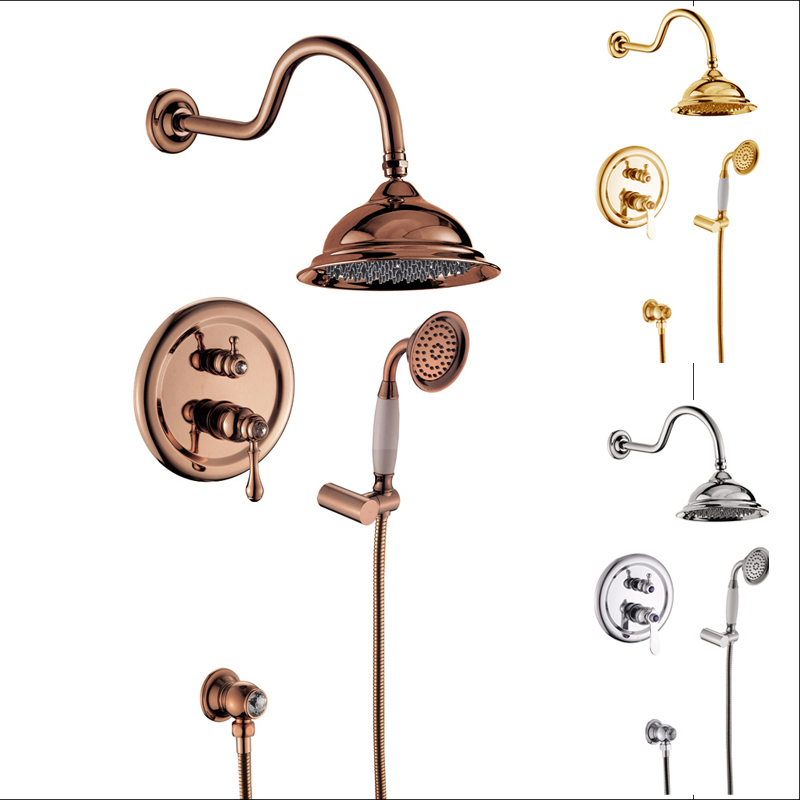 Chrome Golden Rose Golden Concealed Install Shower Set Single Lever Bathroom 8 Rainfall Shower Mixer Taps