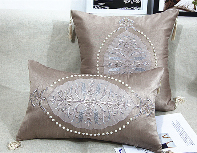 40 Handmade Luxury Bed Cushion Pearl Beaded Cushion Geometric Unique Luxury Decorative Bed Pillows