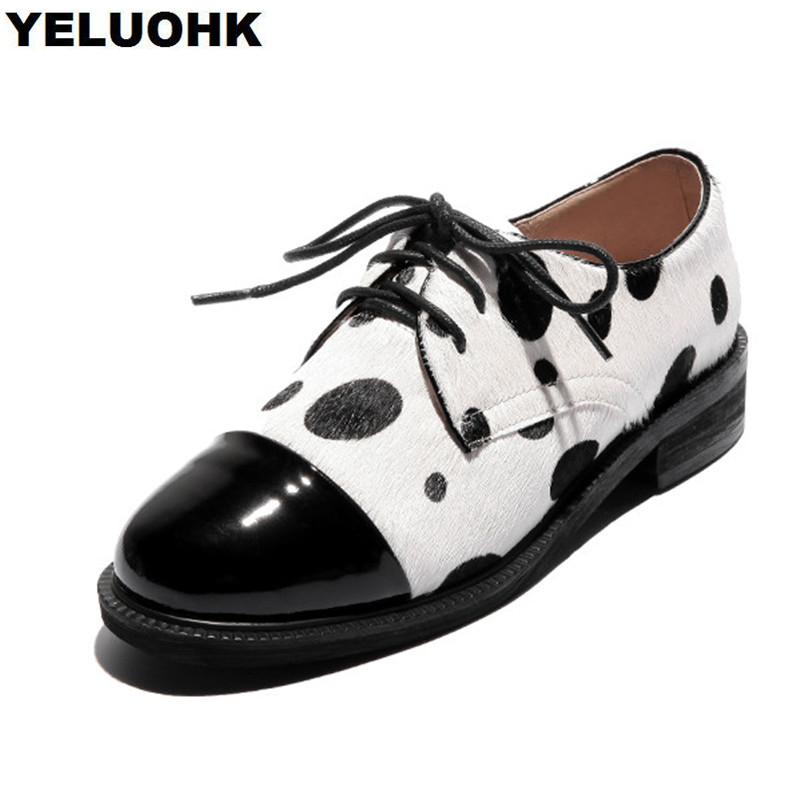 2018 New Horsehair Oxford Shoes For Women Casual Spring Shoes Women Flats Lace Up Ladies Shoes High Quality