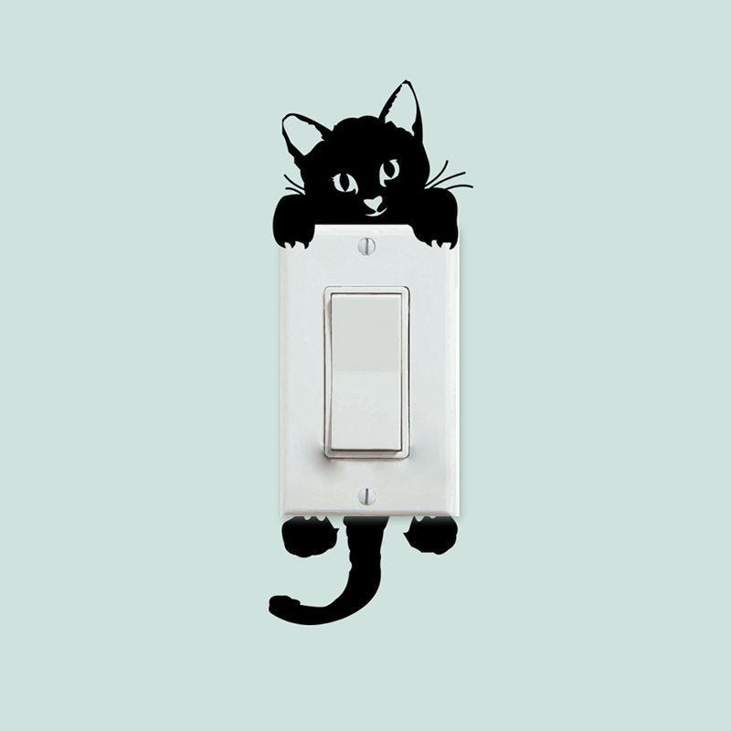 Kawaii обои Детская домашняя Спальня салон украшения DIY милый кот переключатель наклейки