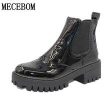 Высококачественные женские ботинки размер 35–39 мотоциклетные ботинки челси Черные ботинки на шнуровке Zapatos Mujer резиновые полуботинки зимние теплые 82207 Вт