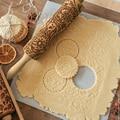 Christmas Embossing Rolling Pin Baking Cookies Biscuit Fondant Cake Dough Engraved Roller Reindeer Snowflake