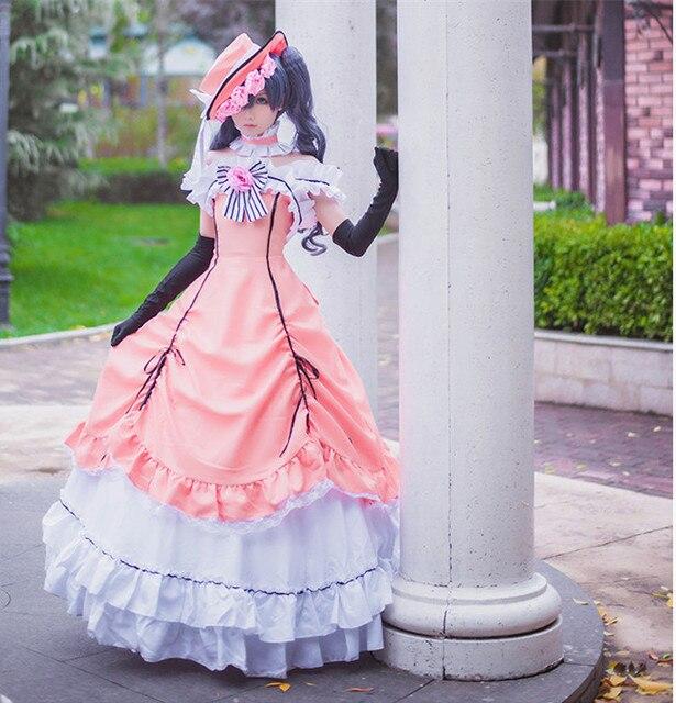 98cbbccbc Anime Black Butler Ciel Phantomhive Cosplay Dress Women Cosplay Costumes  Lolita Dress (Dress + Hat + Neck Accessory + Gloves)
