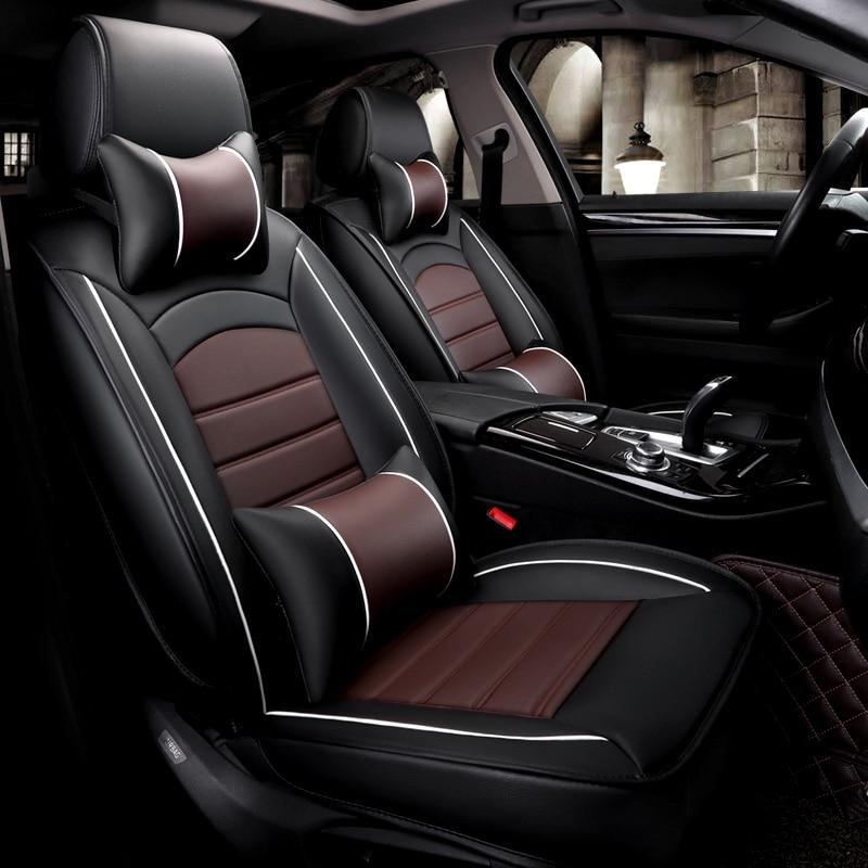 5 assentos/set assentos de carro de couro pu à prova d' água covers protector universal para mazda3 vw toyota almofadas auto acessórios interiores - 2