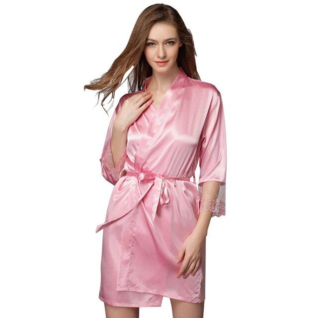 2017 Novo Pijama de Seda Mulheres Sexy Silk Stain Robe Robes De Dama De Honra Pura Lingerie Vestido Camisola Roupão Quimono De Seda TB832