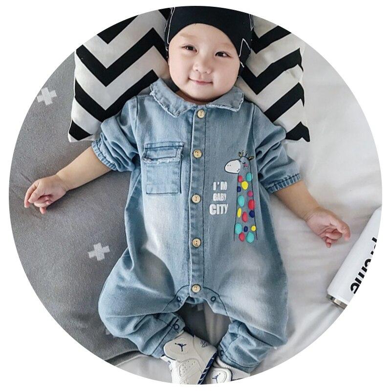 3 Styles Soft Denim Baby Romper Graffiti Infant Clothes Newborn Jumpsuit Babies Boy Girls Costume Cowboy Fashion Jeans Children цена