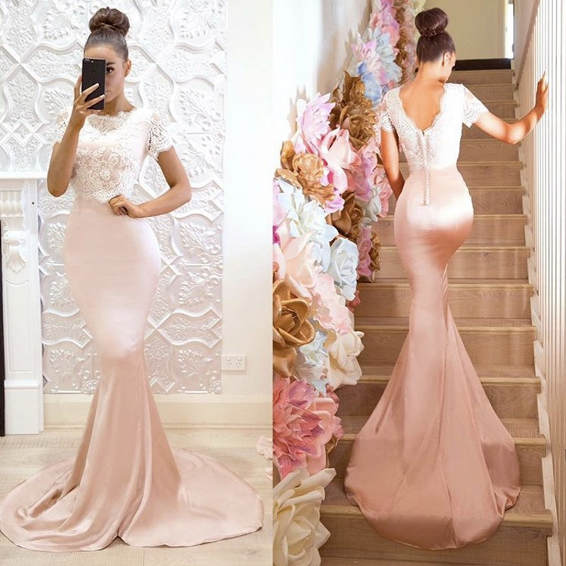 Vestido Madrinha Mermaid Lace Bridemaid Dresses 2019 Short Sleeves Appliques Pink Prom Dresses Sexy Back Dress For Wedding Party