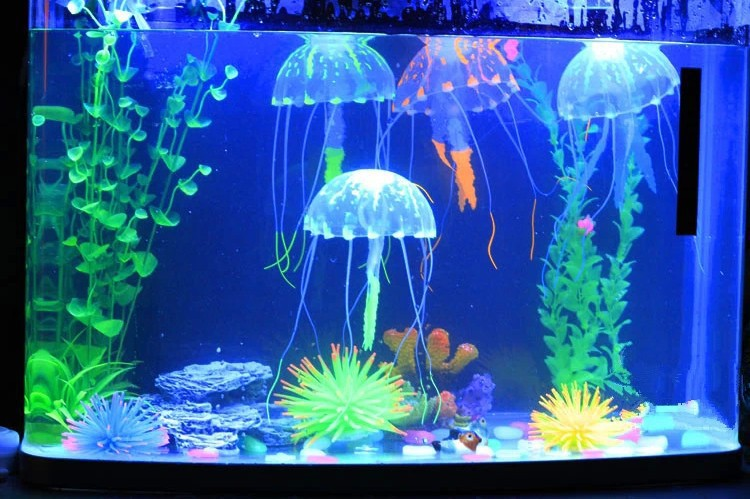 1 pcs small size fluorescent glowing jellyfish aquarium for Glow fish tanks