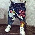2016 Nuevos Muchachos del Dril de algodón Pantalones Niños Del Otoño Del Resorte Pantalones Bragas de Los Niños de Dibujos Animados Pantalones de Mezclilla de Moda