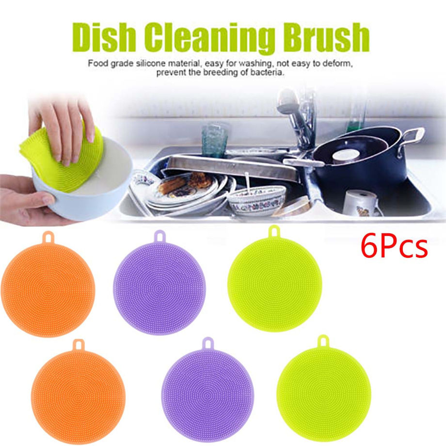 6Pcs Silicone Dish Washing Eco-Friendly Sponge Scrubber Kitchen Cleaning antibacterial Tool 11.5*1.5cm Dropshipping #&925