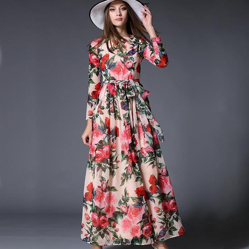 Summer 2018 Especially Women Long Sleeve Dresses Flower Print Chiffon Slim Long Sleeve Maxi Dress Dress Income