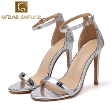KATELVADI Womens Summer Footwear Silver Patent PU 11.5CM High Heels Gladiator Sandals Women Wedding K-337