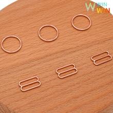 лучшая цена Wholesale 50sets/100pcs bra rings and sliders various size of rose gold metal alloy bra strap slides and rings