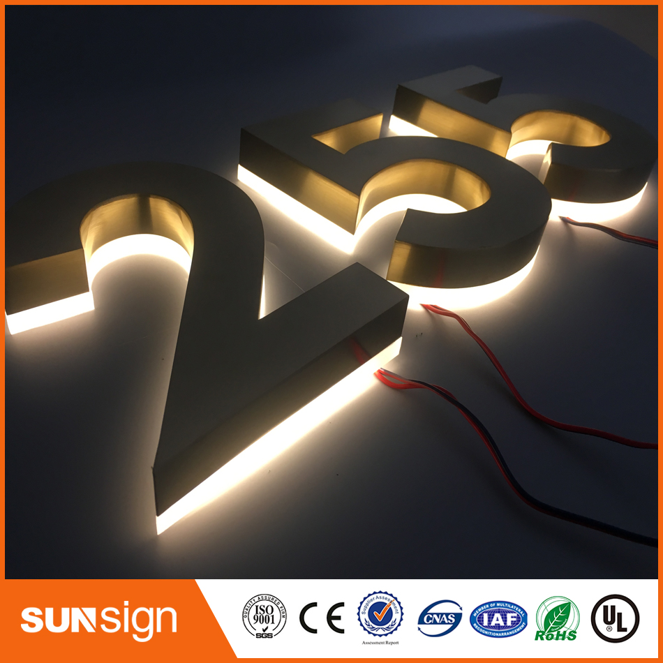 Outdoor Stainless Steel LED Backlit House Number And Letters