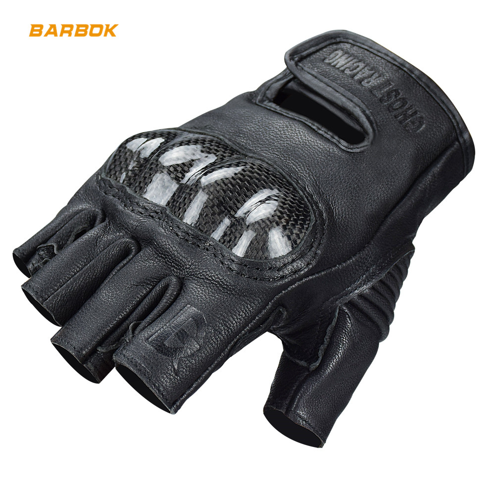 Carbon Hard Shell Mens Motorcycle Gloves Leather Half Finger Non Slip Shockproof Scooter Motorbike Motocross Protective Gloves in Gloves from Automobiles Motorcycles