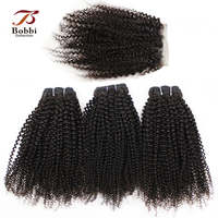 BOBBI COLLECTION Afro Kinky Curly 2/3 Bundles With 4*4 Lace Closure Indian Non-Remy Human Hair Weave Bundles Extensions