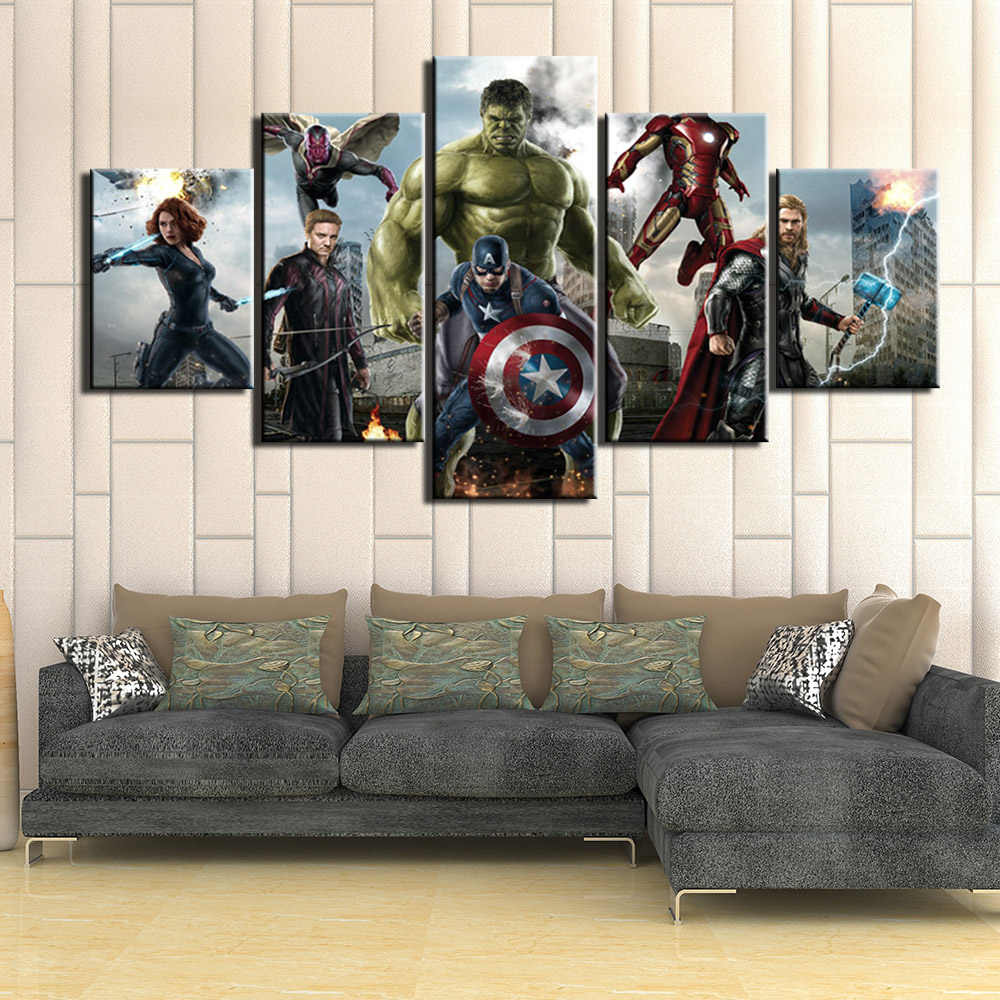 Poster Modern 5 Pcs The Avengers Pictures Wall Art Canvas Painting Posters and Prints Wall Pictures For Living Room