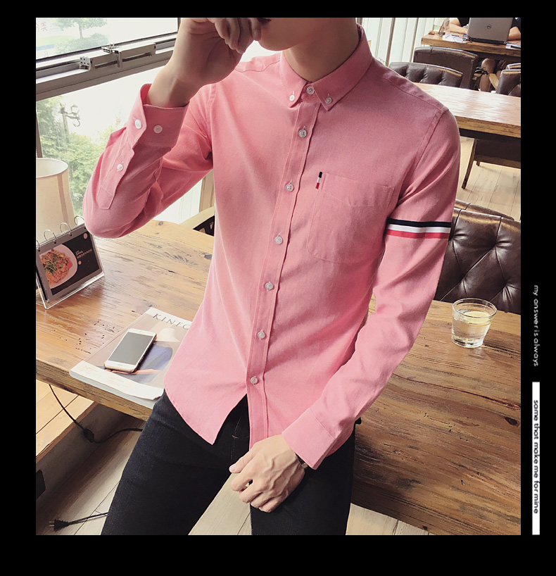 2017 New autumn men's casual tops brand shirt striped Strip decorate cotton men fashion solid color long sleeved Shirts M-XXXL 83