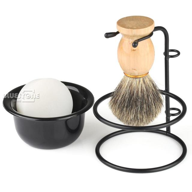 Men's Gift Hair Shaving Brush+Stainless Steel Stand Holder +  Bowl  +Soap Gift Mix Badger OR Set