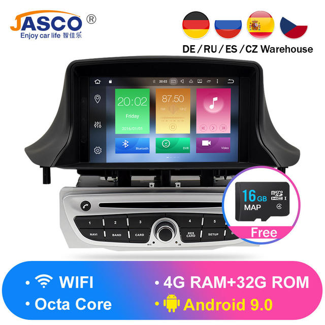 Android 9.0 Car Stereo DVD Player GPS Glonass Navigation for Renault Megane 3 Fluence 4GB RAM Video Multimedia Radio  headunit