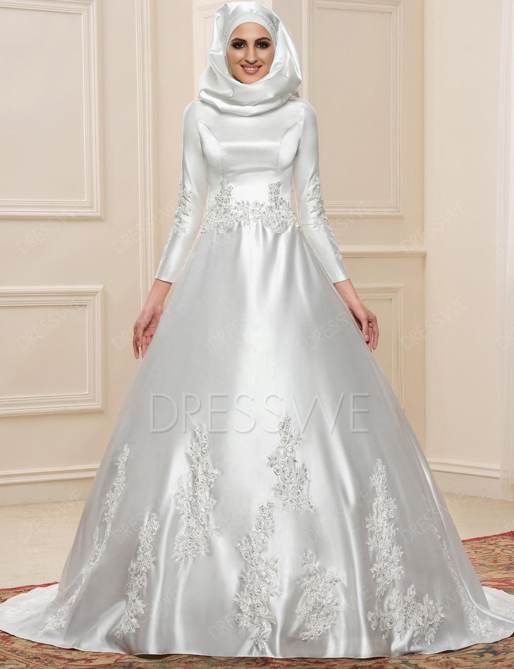 New muslim wedding dress hijab long sleeves arabic wedding for Arabic wedding dresses with hijab