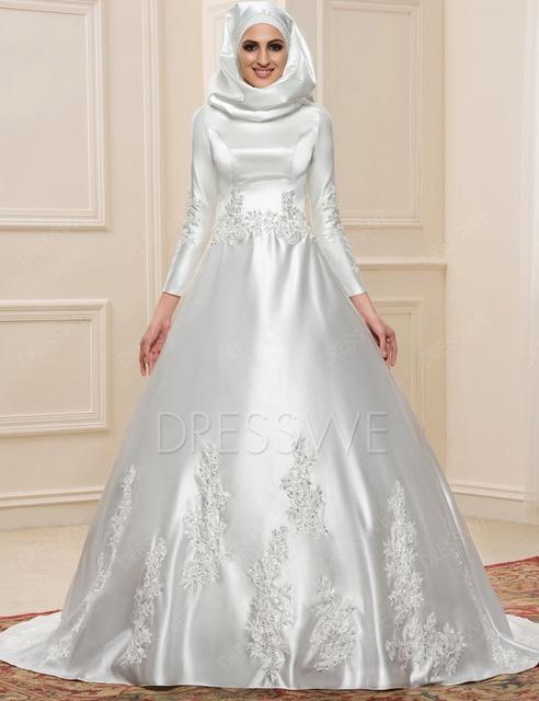 New Muslim Wedding Dress Hijab Long Sleeves Arabic Wedding Gown ...