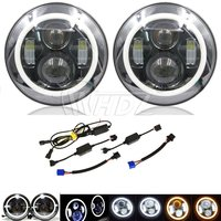 7 Inch Round LED Headlight With Signal Halo Angle Eyes With DRL Halo For 97 15