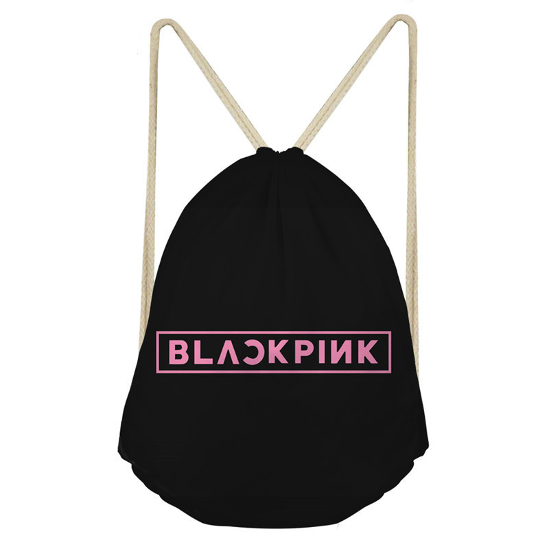 ThiKin Blackpink K-pop Printing Drawstring Bag Women's Backpack Small Girls School Bags Casual Storage Bag Softback Korean