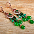 Fashion Women Vintage Turkish Earrings Collares Resin Ears Green Earring Bridal Jewelry Max Brincos African Beads Jewelry