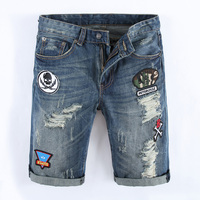 Summer Men S Blue Shorts Jeans Knee Length Superably Brand Clothing Skull Letter Printed Moto Jeans